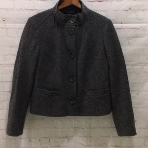 Boden gray boiled wool short button front jacket